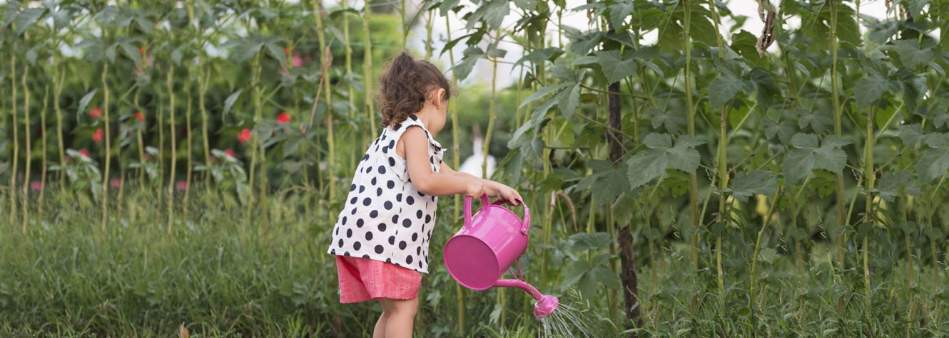a little girl waters flowers with a large pink watering can